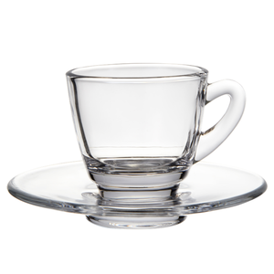 wholesale exquisite durabe high quality borosilicate glass coffee cup with plate