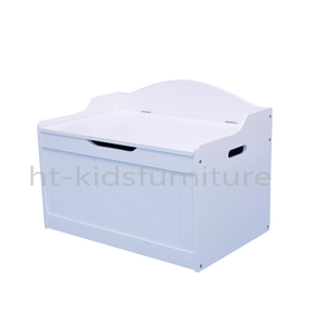 65x42x46(H)cm E1 MDF Easy Assembly NC White Painted Wooden Toy Box/Kids Toy Storage For Wholesale