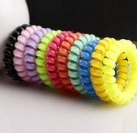 Candy Color Elastic Band Hair Ponytail Plastic Spiral Hair Elastic Band