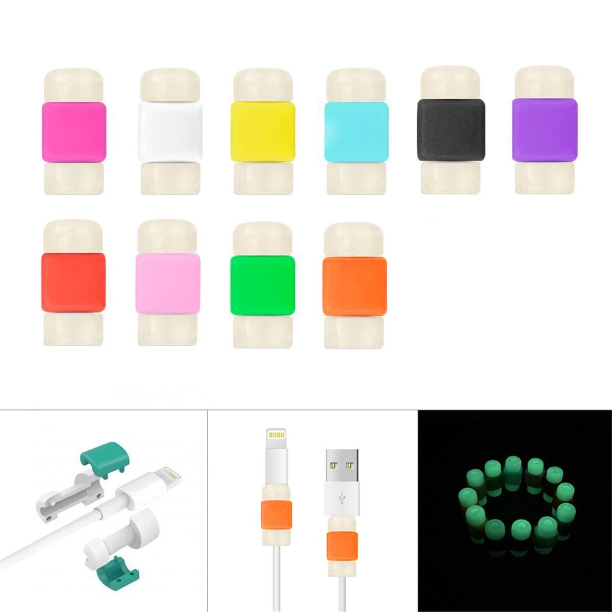 BUTEFO 2 Pieces Charging Cable Protector Saver Apple iPhone USB Lightning Cable Protector Visible Glow in the Dark (10colors)
