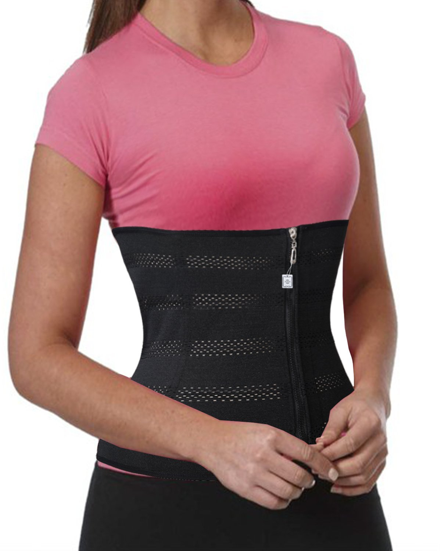 c74fab42e Get Quotations · Waist Trainer Abdominal Binder Stomach Girdle Tummy  Control Belt Zipper   Hooks