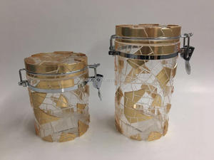 2017 ice cracks canister,fresh keeping container with golden/silver painting