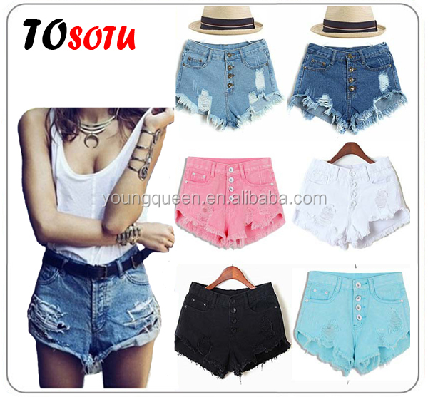 WH91 women high waist denim shorts candy-colored retro shorts