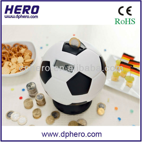 Digital soccer shape antique piggy banks