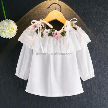 57ede4b32c3b8 Enfants 2017 filles fleur broderie chemise blanche à manches longues  dentelle collier petite fille chemise bustier