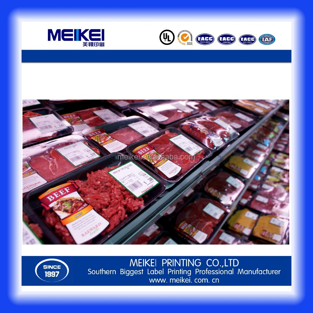 Custom High Quality Meat Packaging Label, Waterproof Self-Adhesive Logo Printed Meat Packaging Label