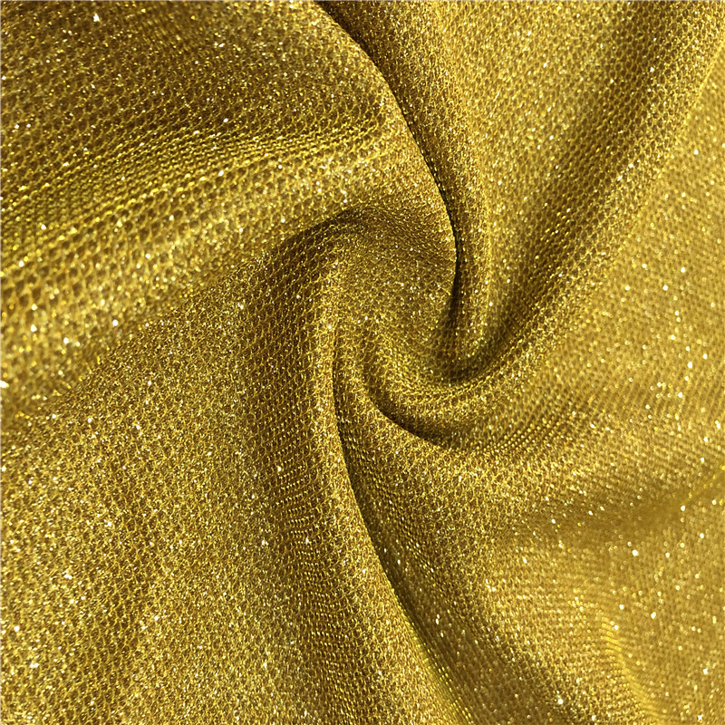 Dimond Linen Polyester Children's Clothing Fabrics Gold Metallic Mesh 94% polyester 6% spandex Fabric