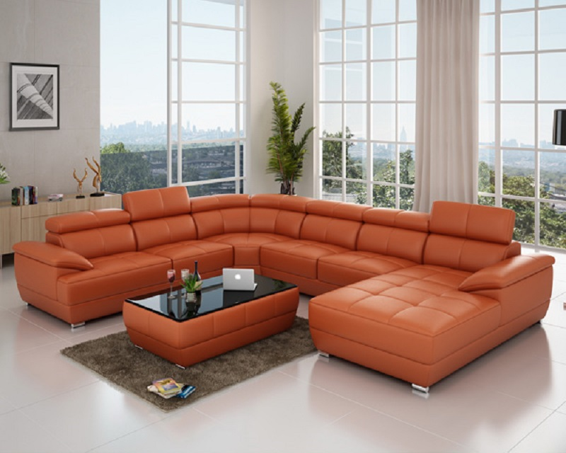 Style Red Genuine Sectional Sofa Set
