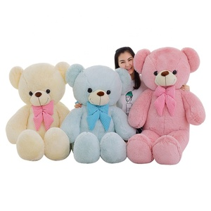 2019 cute pink bear blue teddy bear cream color plush teddy bear