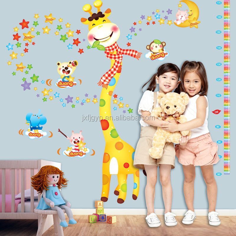 Custom removable creative PVC kindergarten animal kids height measurement wall sticker growth chart