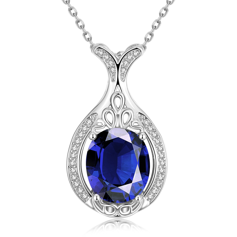 Imitation jewelry 18k gold plated crystal large stone oval pendant necklace