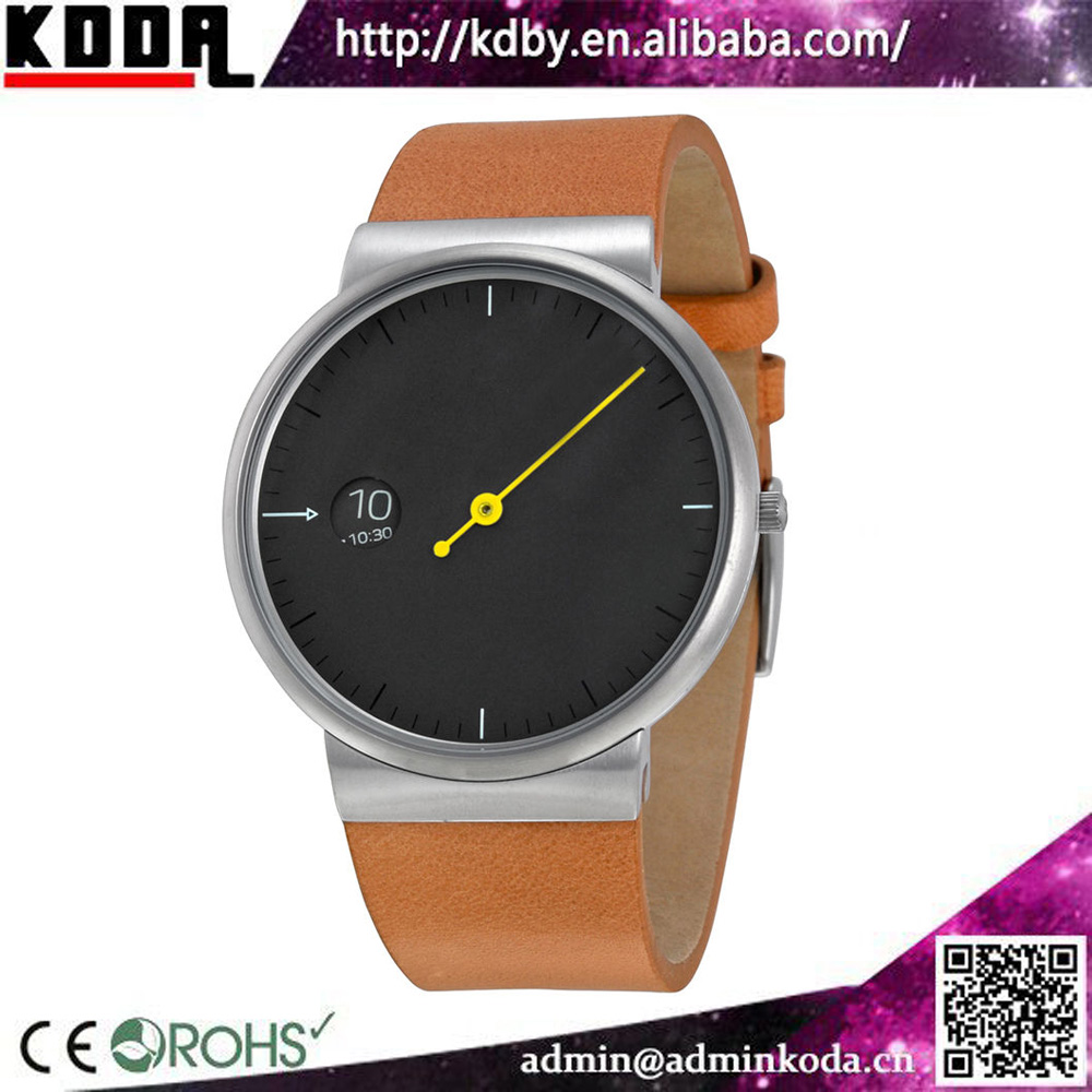 koda new design one pointer single hand watches man with leather watch bracelet