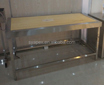 APEX Customized Stainless Steel Wood Top Kitchen Furniture Wooden Work Table