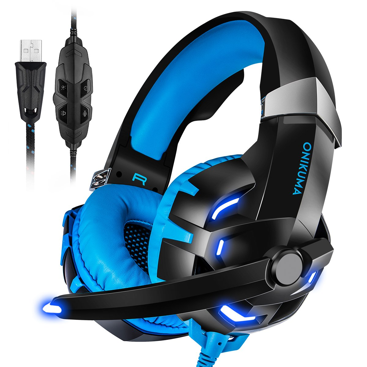 c0b8064a76d Get Quotations · PC Gaming Headset, ONIKUMA 7.1 Surround Sound USB Gaming  Headset, Crystal Clear Sound with