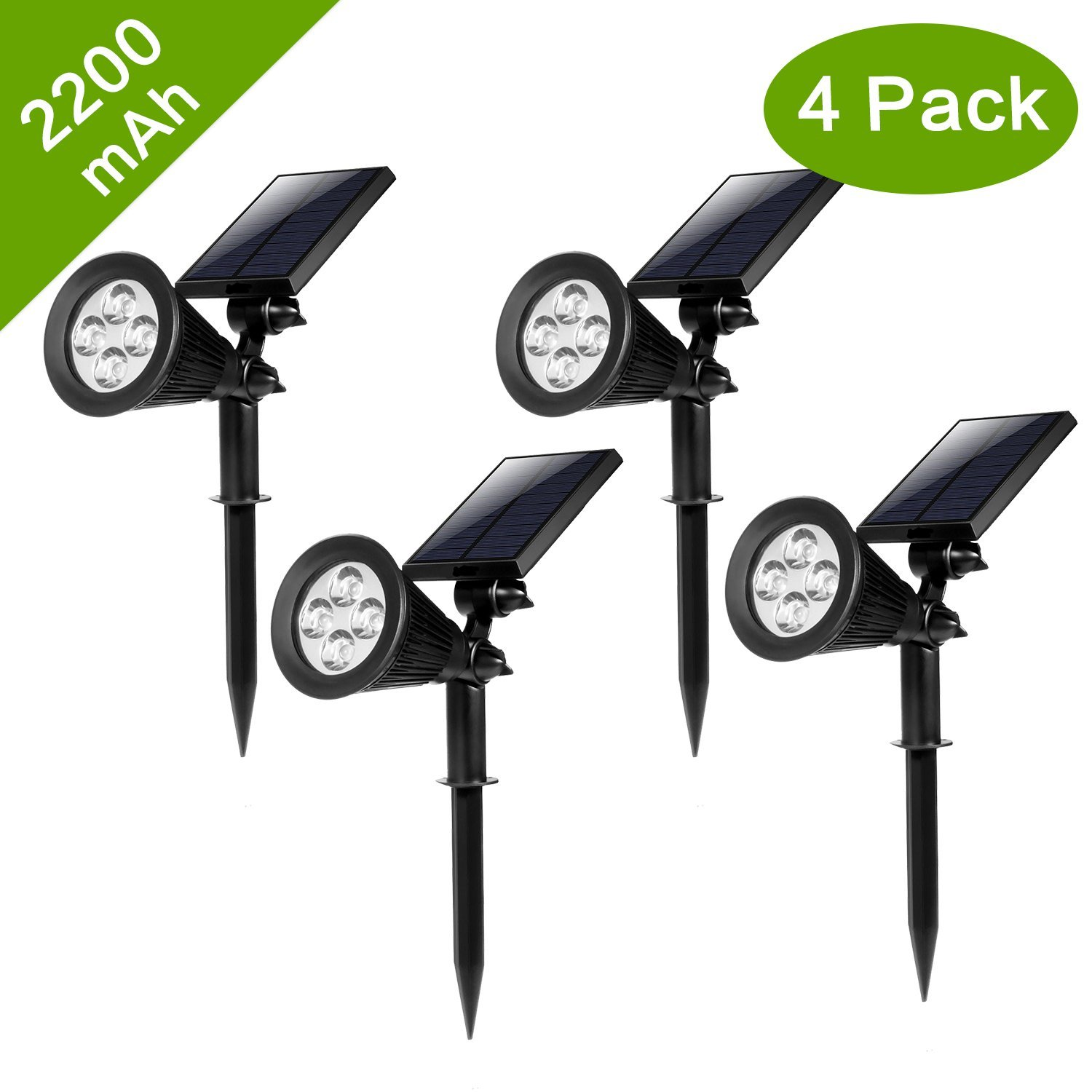 HKYH Bright Outdoor LED Solar Spotlight, Solar Powered Waterproof Outdoor Light Landscape, Garden, Driveway, Pathway, Yard, Lawn, Installs Easily, Security Lighting, Decorative, Pool Area, Etc.