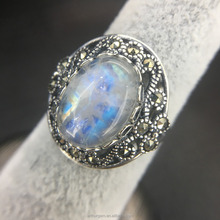 Vintage Women 925 Silver Moonstone with Blue Light Gemstone Ring Engagement Bridal Jewelry