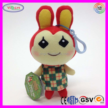 A904 5 Animal Crossing Plush Keychain Stuffed Bunny Doll Keychain