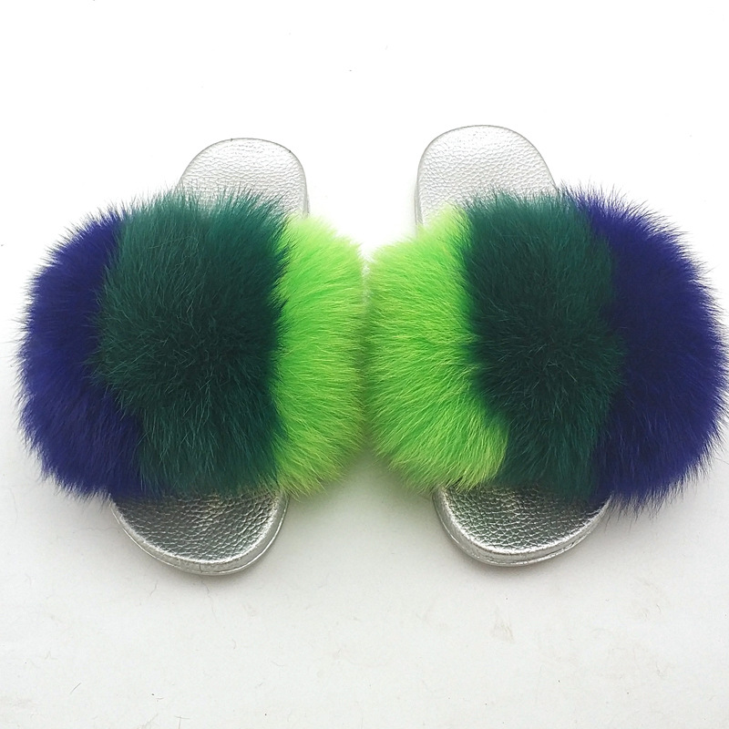 794eb77727a Soft and fluffy children fox fur slippers  baby fur slides  kids real fur  sandals