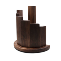 2019 New Design Cherry Oak Walnut Wood Bamboo Kitchen Magnetic Knife Block