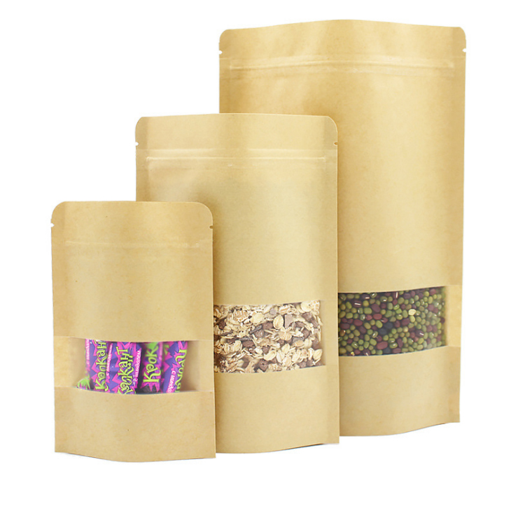 Custom Printed Brown Kraft Paper Pouches Ziplock Bags With Clear Window
