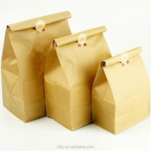 fast food bread packaging brown kraft paper stand up bag pouch