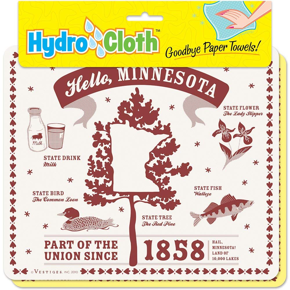 """Hello, Minnesota"" Hydro Cloth   Eco-friendly Sponge Cloths   Reusable Swedish Dish Cloths   Set of 2 printed Sponge Cloths   Kitchen, bath, auto   Replaces 30 rolls of paper towels   Machine Wash"