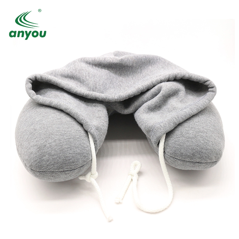 Wholesale high quality Memory Foam U Shape Travel Hooded neck Pillow For plane Flight sleep