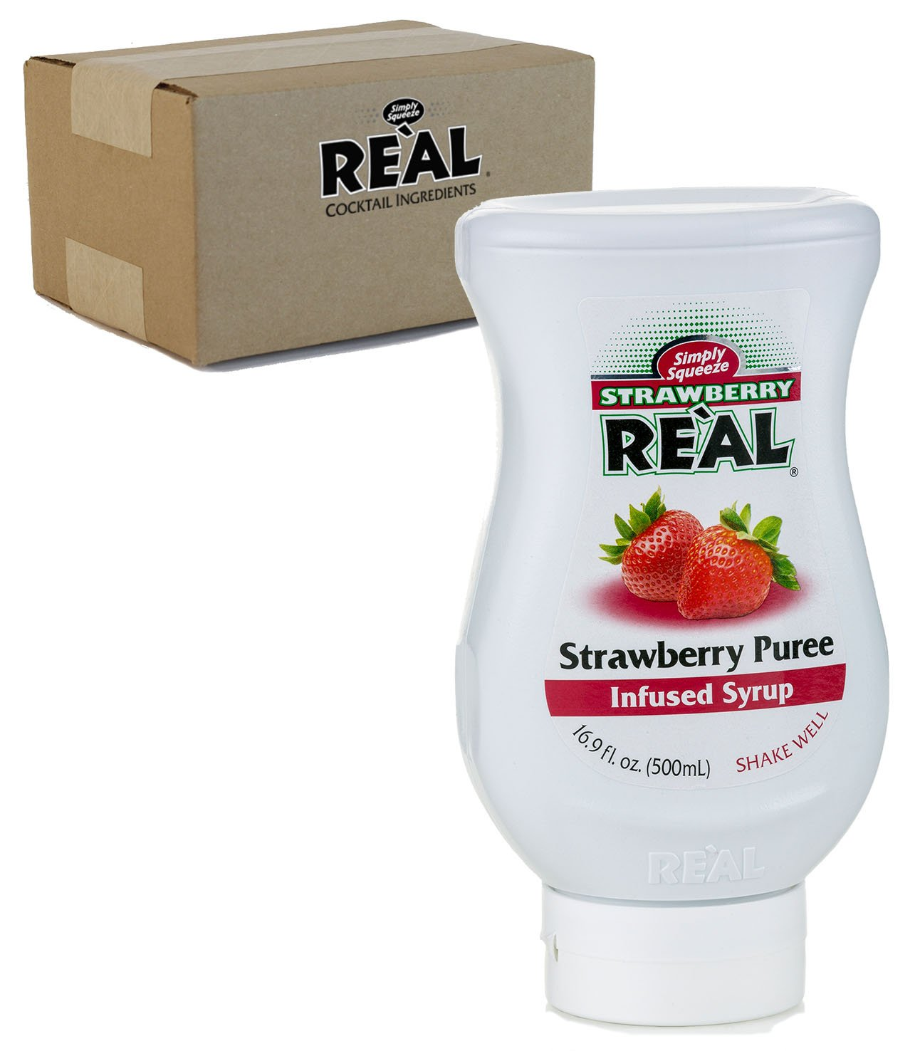 Strawberry Reàl, Strawberry Puree Infused Syrup, 16.9 FL OZ Squeezable Bottle (Pack of 1)