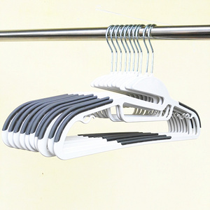 non slip hanger white grey plastic clothes hanger hot sale on Amazon accept customize small order