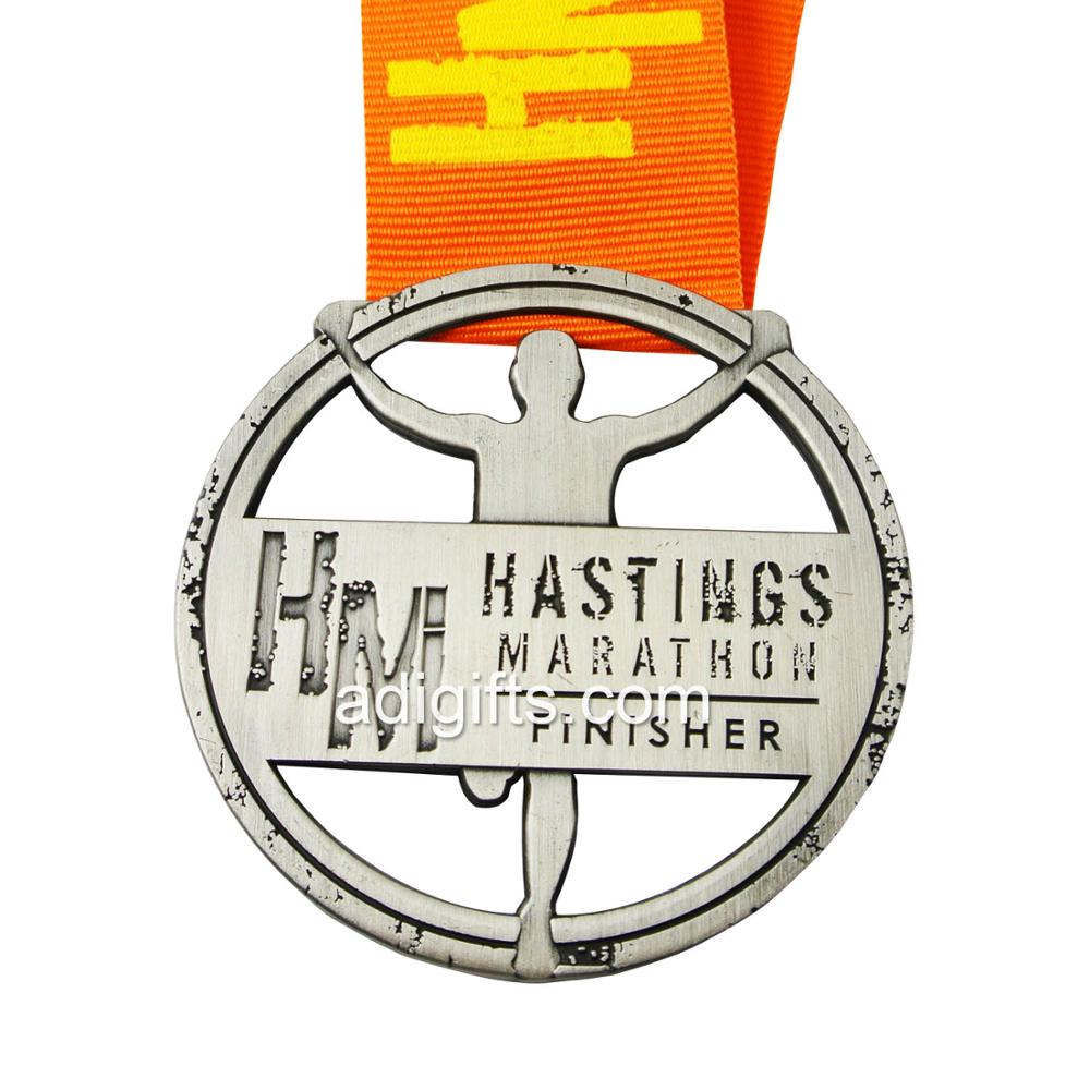 Custom Cheap High Quality Metal Antique Gold Marathon Sports Running Award Medal with Ribbon