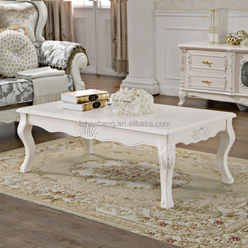 Ivory White Hand Carved Wooden Baroque French Furniture Coffee Table