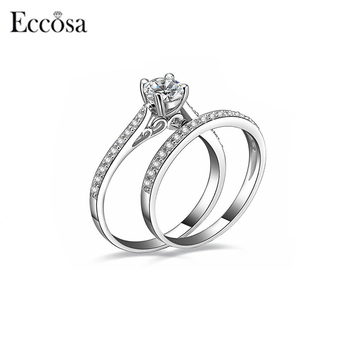 2018 Newest Simple Diamond Engagement Ring Design Wedding Silver