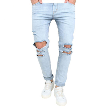 2018 OEM Cheap price trendy slim fit ripped mens jeans scratch pants