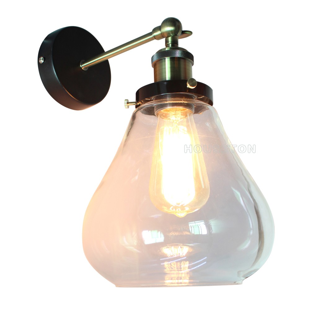 Industrial Style Fluorescent Light Source Glass Material Wall Lamp ...