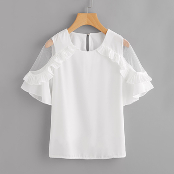2018 Summer fashion women Insert Frill Trim Blouse