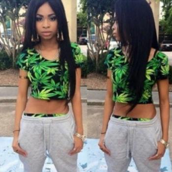 Стиль женщины лето T рубашка mariguana сорняк листья печать Harajuku культур верхний для женщины
