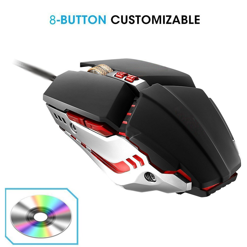 Wired Gaming Mouse Breathing LED light 3200 DPI 8 Button for Laptop PC