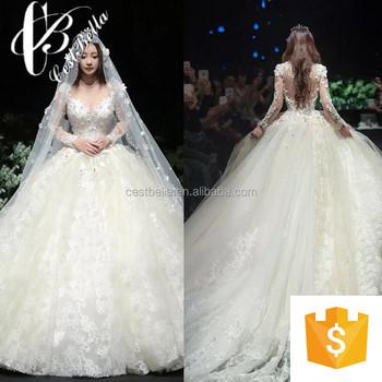 Bridal Gown 2017 Muslim Long Sleeves Bridal Wedding Pattern Ball ...