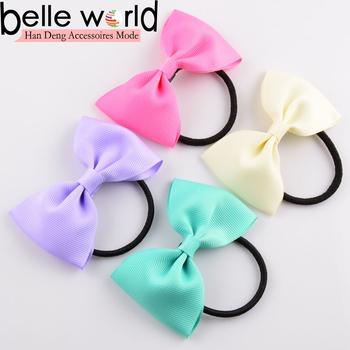 Ribbon Hair Bow Tail Holder Elastic Band Hair Ties For Toddler Girls ... 683cbecb2ff
