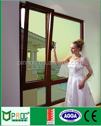 Wood Grain aluminium tilt and turn windows hardware with thoughtened glass for Australia with AS2047 certificate PNOC0010TTW