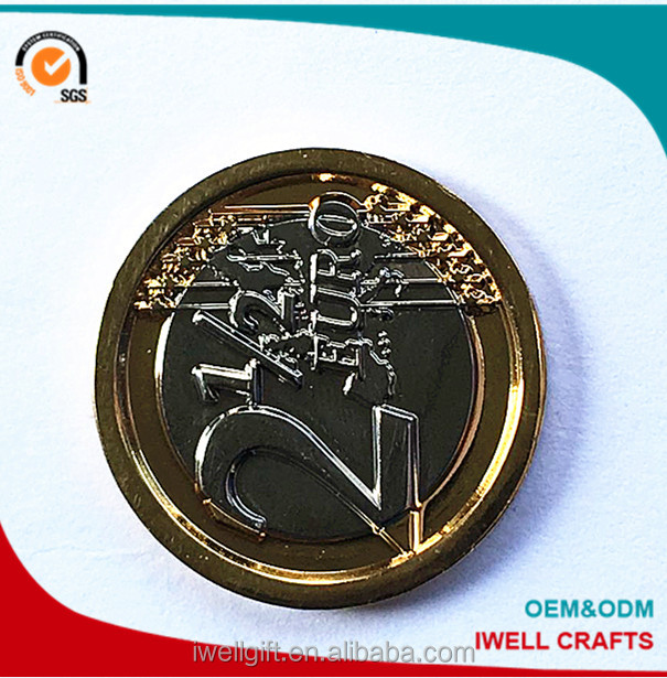 High quality gold and silver double color plating 2 euros replica coin