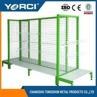 Metal wire mesh back supermarket shelf