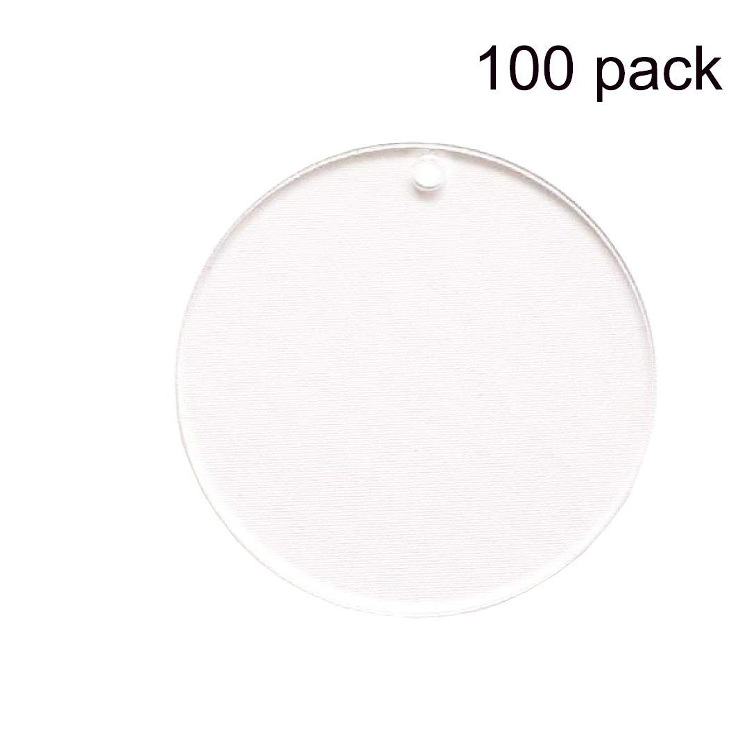 """ACRYLIC SHAPES 100 CLEAR ACRYLIC CIRCLE KEYCHAINS 2.5/"""" BLANK DISCS 1//8/"""" THICK"""