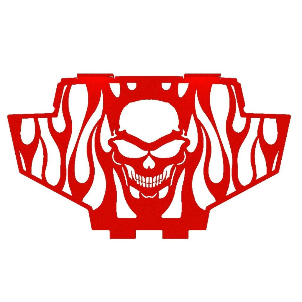 Skull Flame Red Powdercoat Radiator Grill Guard Cover fits: 2011-2014 Polaris RZR 900 - Ferreus Industries - GRL-141-09-Red