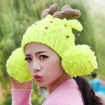 Korean Fashion Women Knitting Hats Deer Horn Beads Ear Bobble Decoration Cute  Winter Caps Yellow d851f729d