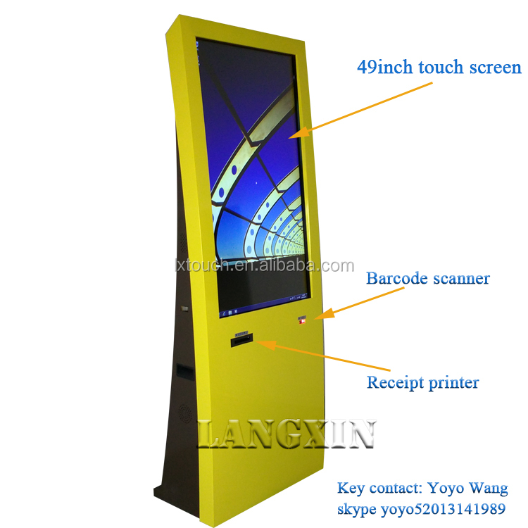 floor stand led touch screen advertising display with printer wall mounted touch screen kiosk