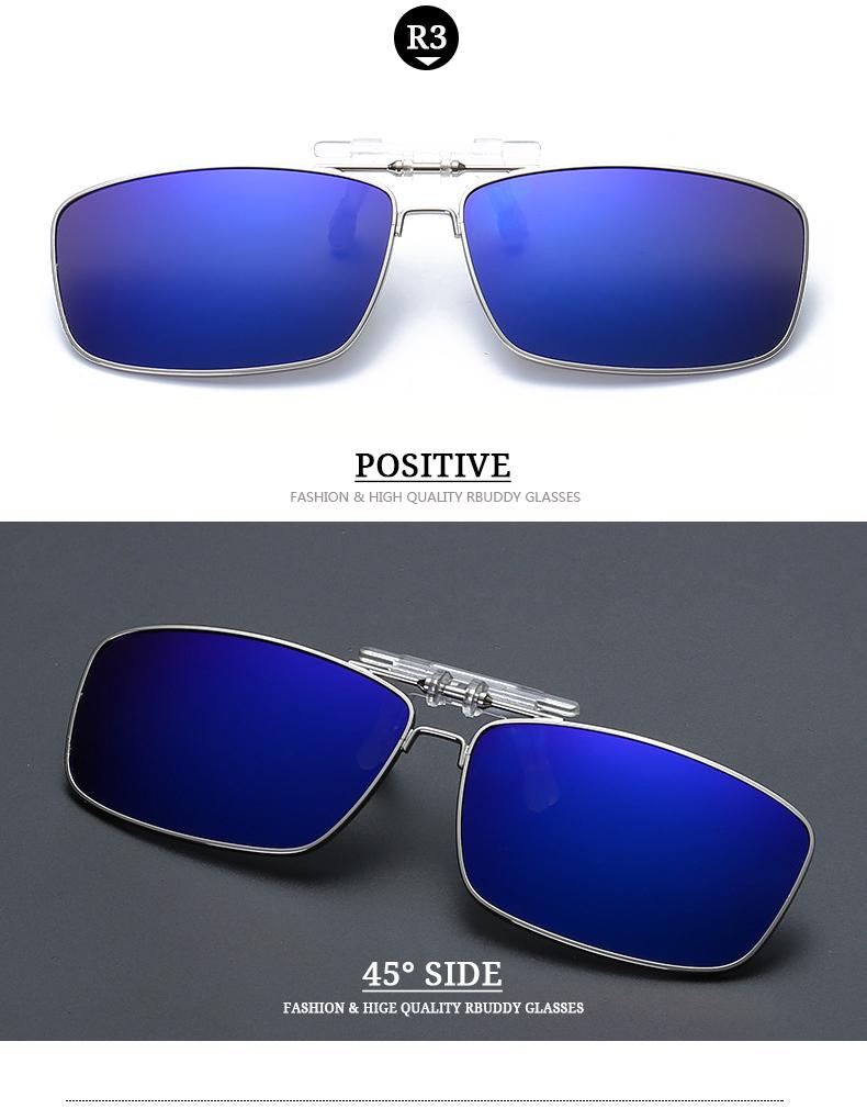 bb8588b4d2 RBUDDY High Quality Polarized Clip On Sunglasses Men Mirror Driving Night  Vision Clip Sun Glasses Women Oculos Gafas De Sol