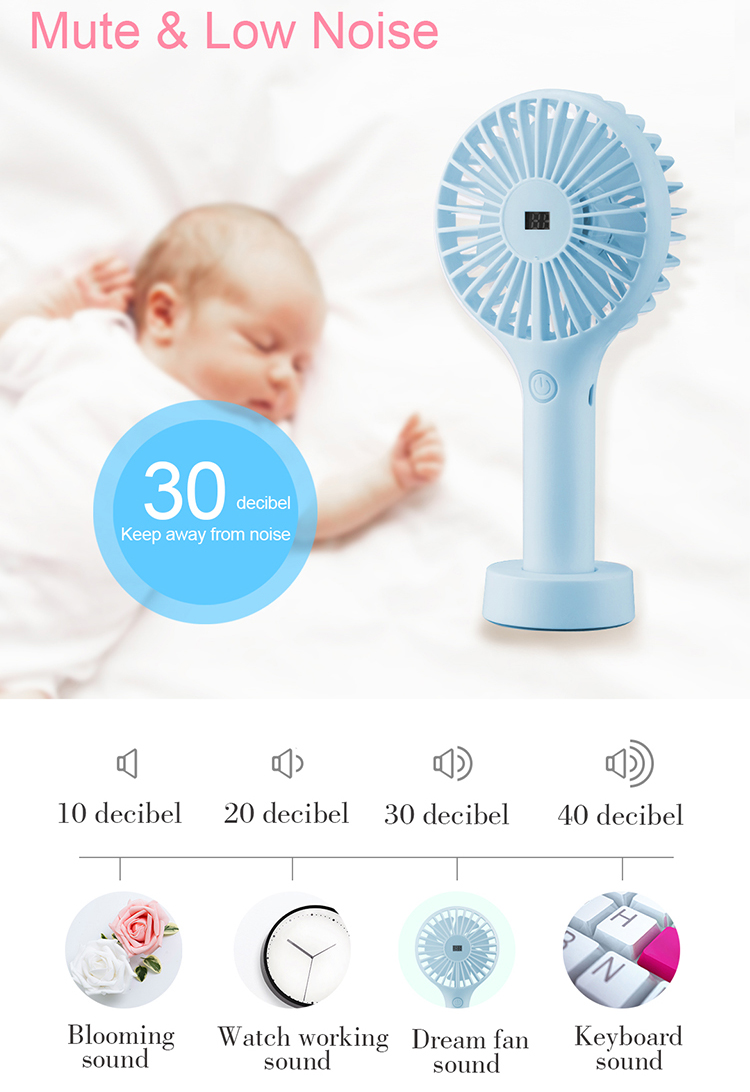 2018 new   rechargeable pedestal standing portable mini desk fan with battery display screen