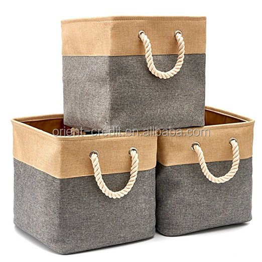 Collapsible Storage Bin Cube Basket [3-Pack] Folding Canvas Fabric Tweed Storage Bin Set With Handles/ Gray For Home