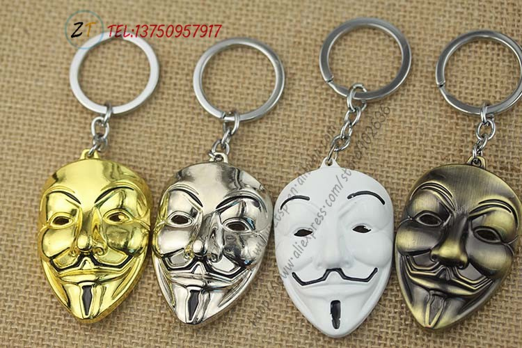 Movie V for Vendetta Keychain ANONYMOUS GUY Mask Metal KeyRing Key ... cad242634451